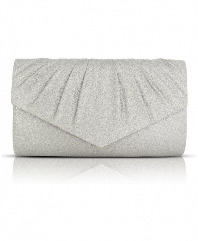 Shop For Womens Clutch Bags In Silver Glitter Fabric