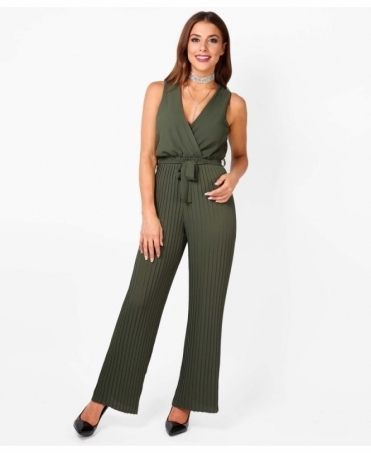 Pleated Leg Wrap Front Jumpsuit