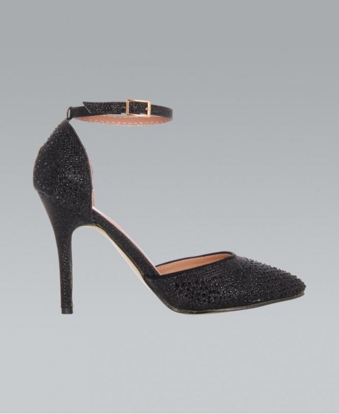 Black Ankle Strap Heels - Shoes