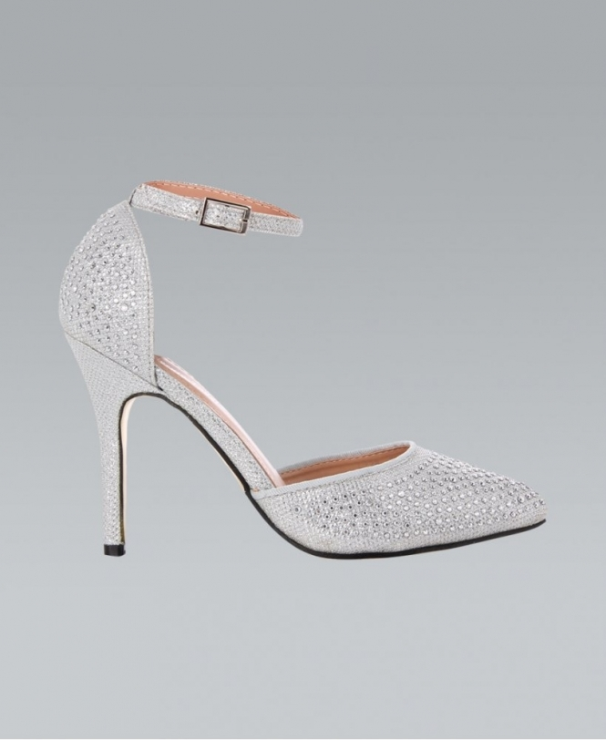 KRISP Pointed Diamante Front Silver Ankle Strap Heels - NEW IN ...