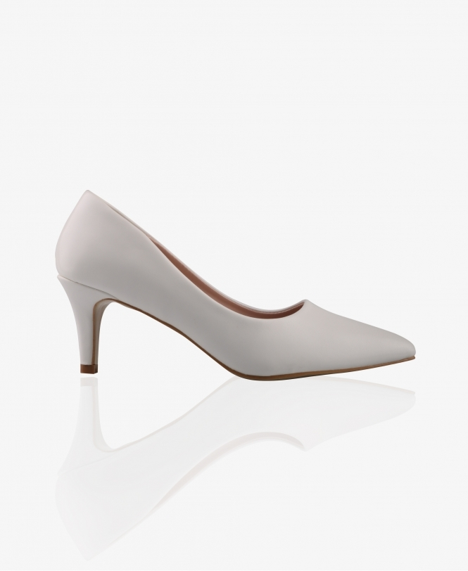 KRISP Pointed PU Kitten Heel Courts