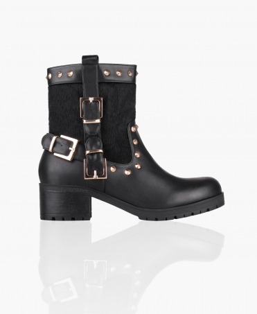 Pony-Hair Studded Biker Boots