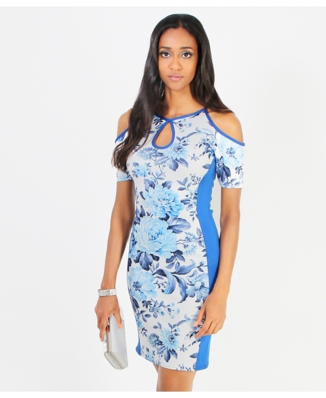 KRISP Porcelain Print Cut Out Bodycon Dress