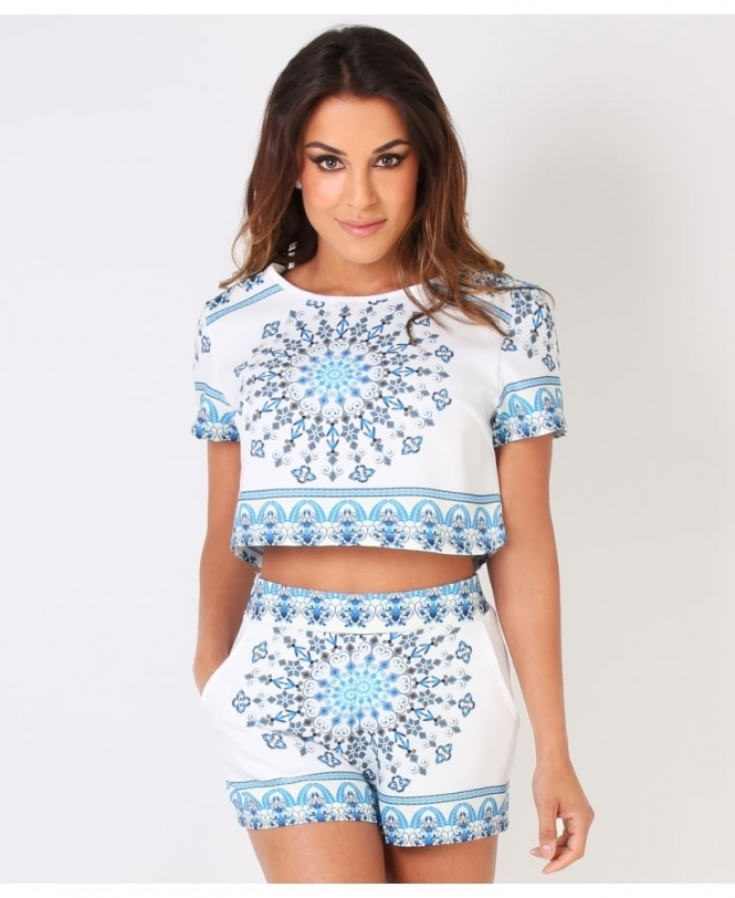 KRISP Porcelain Print Short Sleeve Top