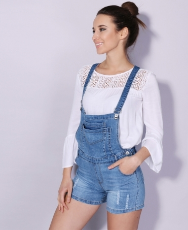 Pouch Pinafore Denim Dungaree Shorts