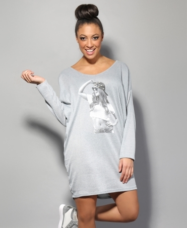Printed Oversize Thin Jumper