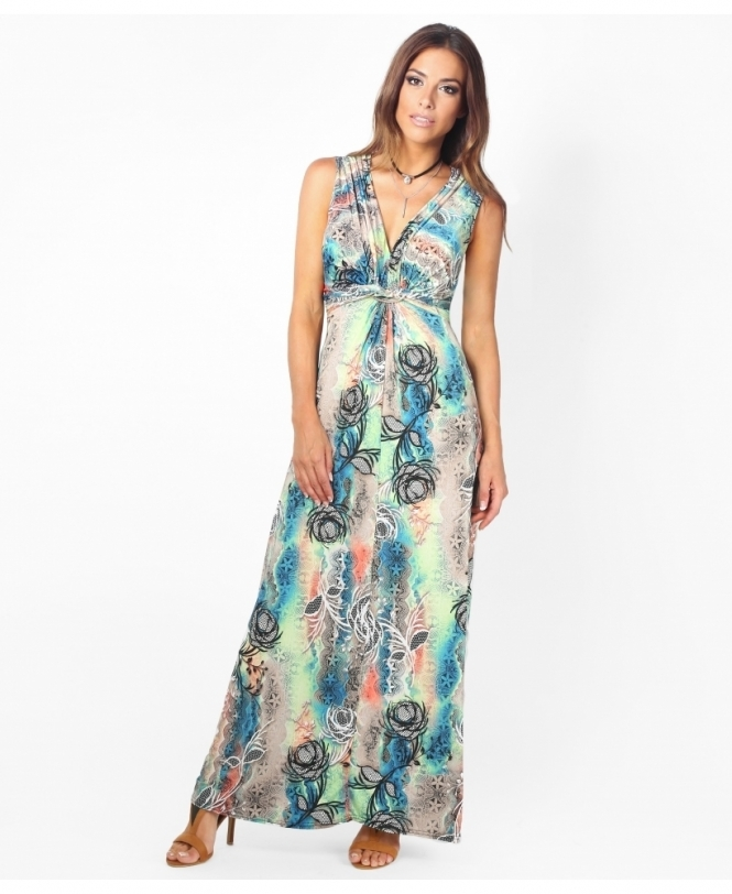 235fd0c9db3 Printed Pastel Knot Front Maxi Dress