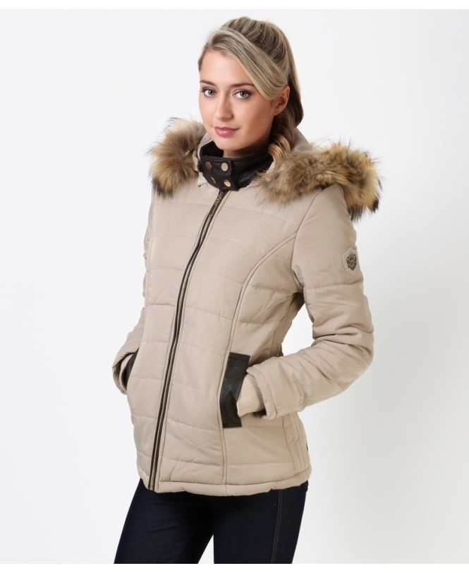 PU Trim Hooded Puffer Jacket 5b5197f56f