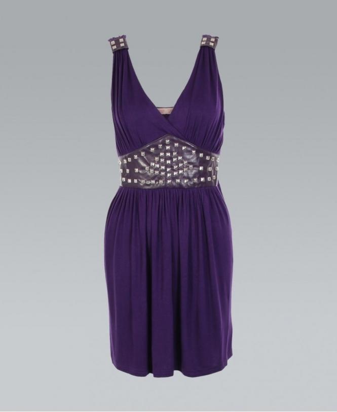 KRISP Purple Studded Waist Grecian Wrap Dress