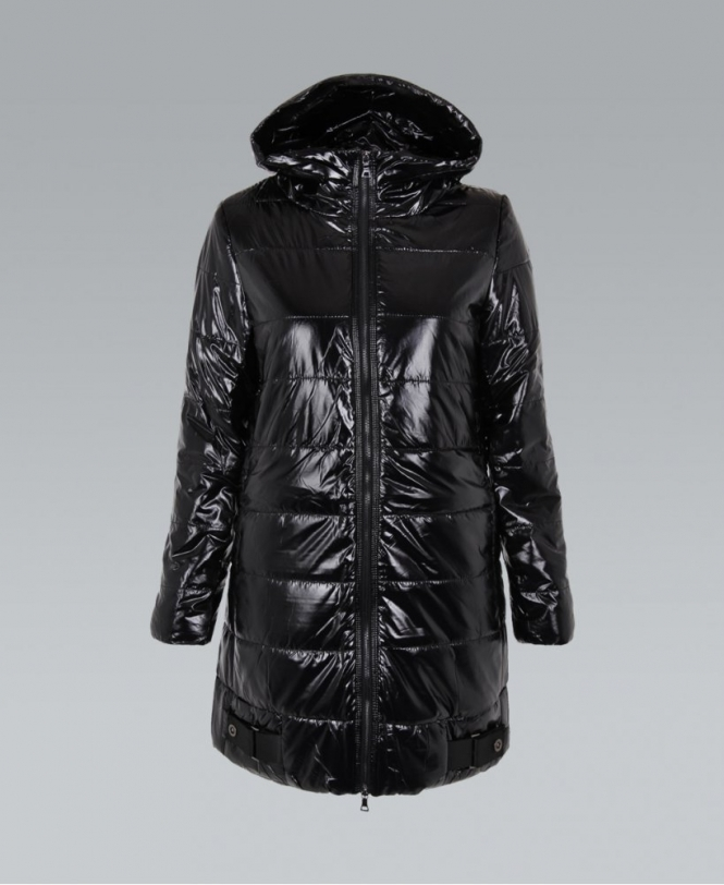 KRISP Quilted Wet Look Hooded Black Puffa Jacket - WOMENS from ...