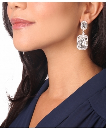 Rectangular Diamante Dangle Earrings