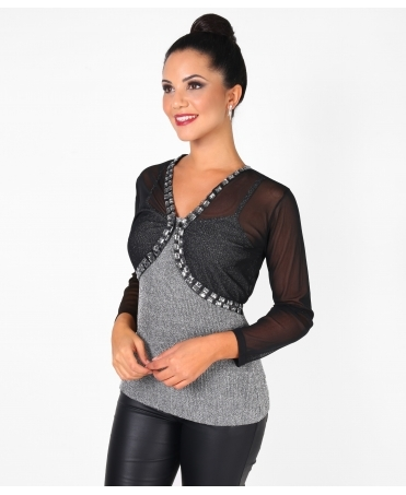 Rectangular Gem Edge Mesh Bolero