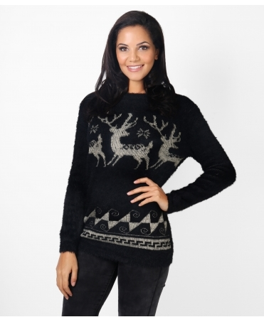 Reindeer Fluffy Christmas Jumper