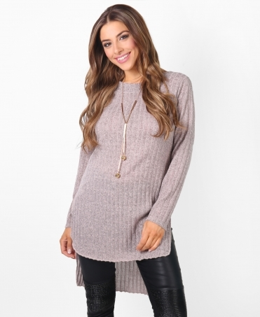 Rib Knit Jersey Tunic Top