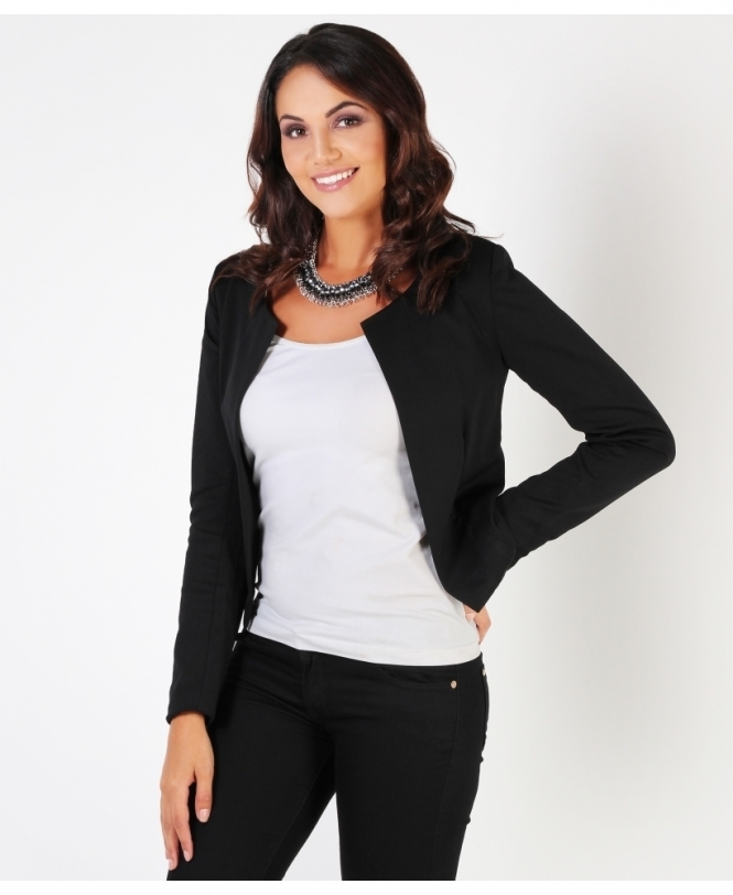 KRISP Ribbed Cropped Open Blazer Jacket