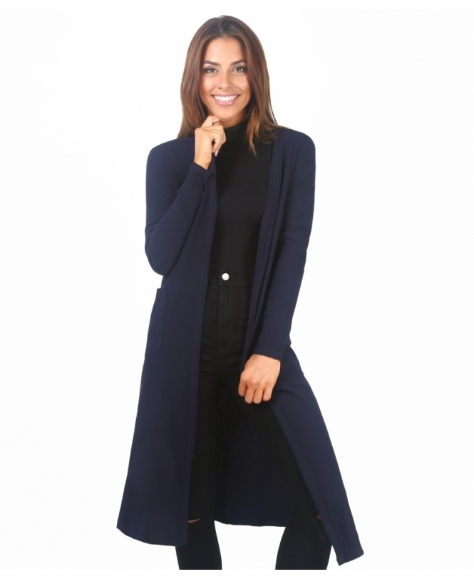KRISP Ribbed Jersey Long Cardigan