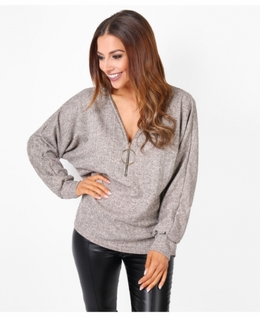 Ring Zipper Oversized Jumper