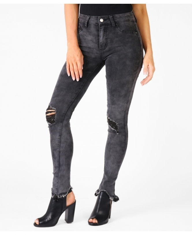 KRISP Ripped Knee & Frayed Cuff Jeans