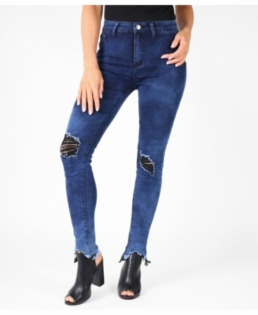 Ripped Knee & Frayed Cuff Jeans