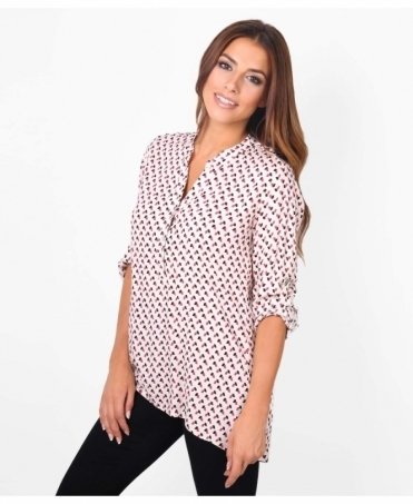 Roll Up Sleeve Printed Blouse