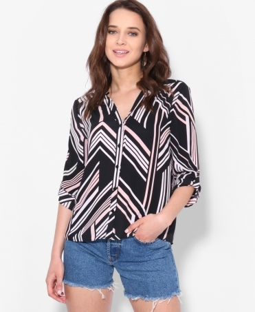 Roll-Up Sleeve Striped Chiffon Blouse