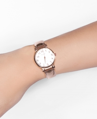 Rose Bangle Round Face Watch