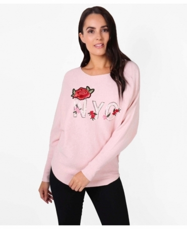 Rose Embroidered 'NYC' Long Jumper