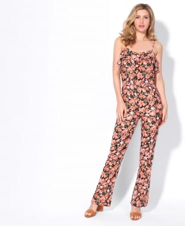 Rose Print Strappy Jumpsuit