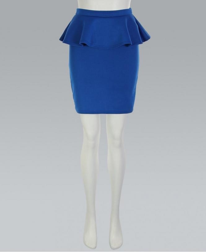 9b6a63c031 KRISP Royal Blue Peplum Scuba Pencil Skirt