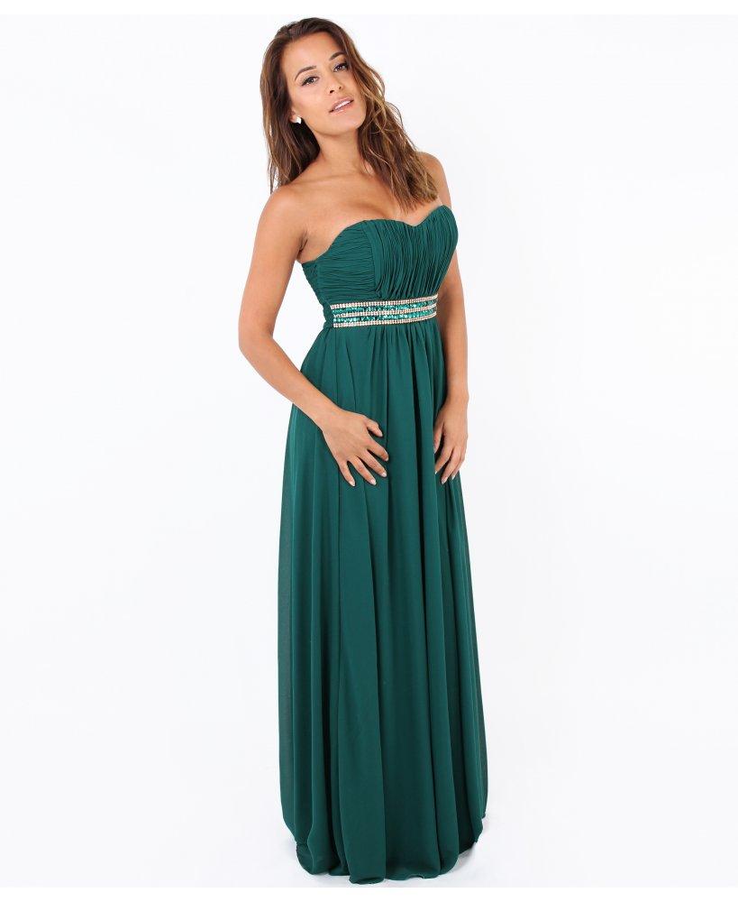 Krisp Ruched Jewelled Prom Maxi Dress