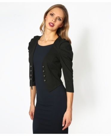 Ruched Sleeve Military Style Shrug