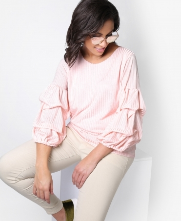 Ruched Sleeve Shiny Rib Top