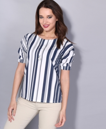 Ruched Sleeve Stripe Top with Necklace