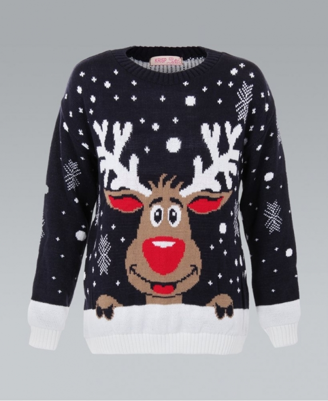 KRISP Rudolph The Reindeer Navy Xmas Jumper
