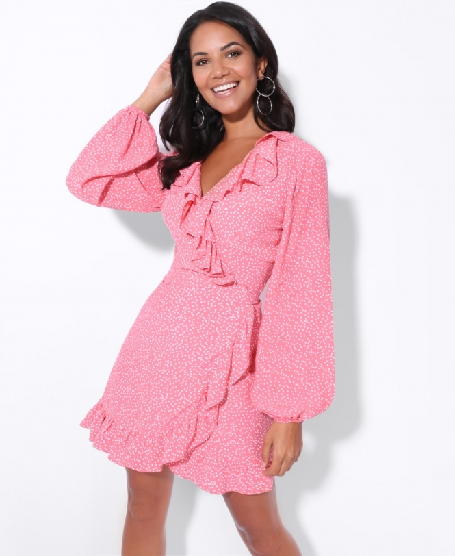 KRISP Ruffle Edge Polka Dot Wrap Dress