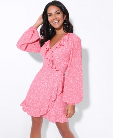 Ruffle Edge Polka Dot Wrap Dress