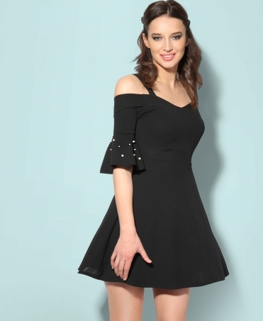 Ruffle Pearl Sleeve Cold Shoulder Dress