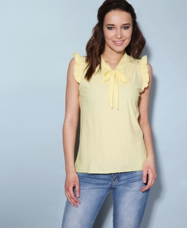 Ruffle Shoulder Tie Neck Blouse