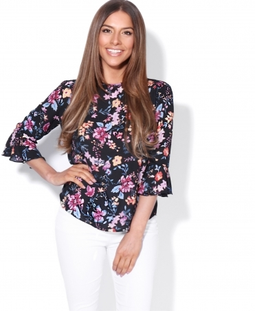 Ruffle Sleeve Floral Swing Top