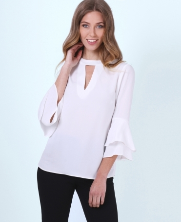 Ruffle Sleeve V Neck Tunic Top