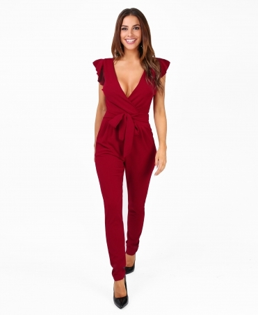 Ruffle Sleeve Wrap Front Jumpsuit