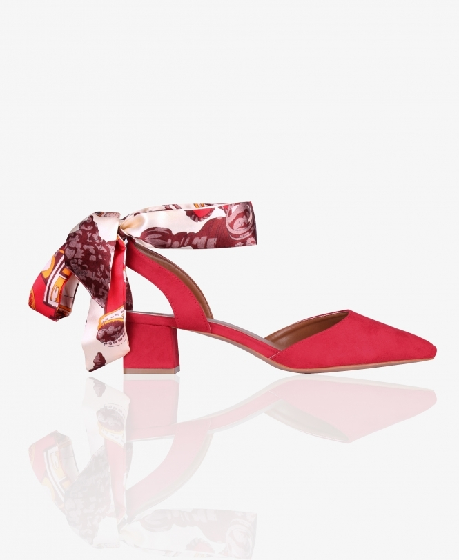KRISP Satin Wrap Low Heel Sandals