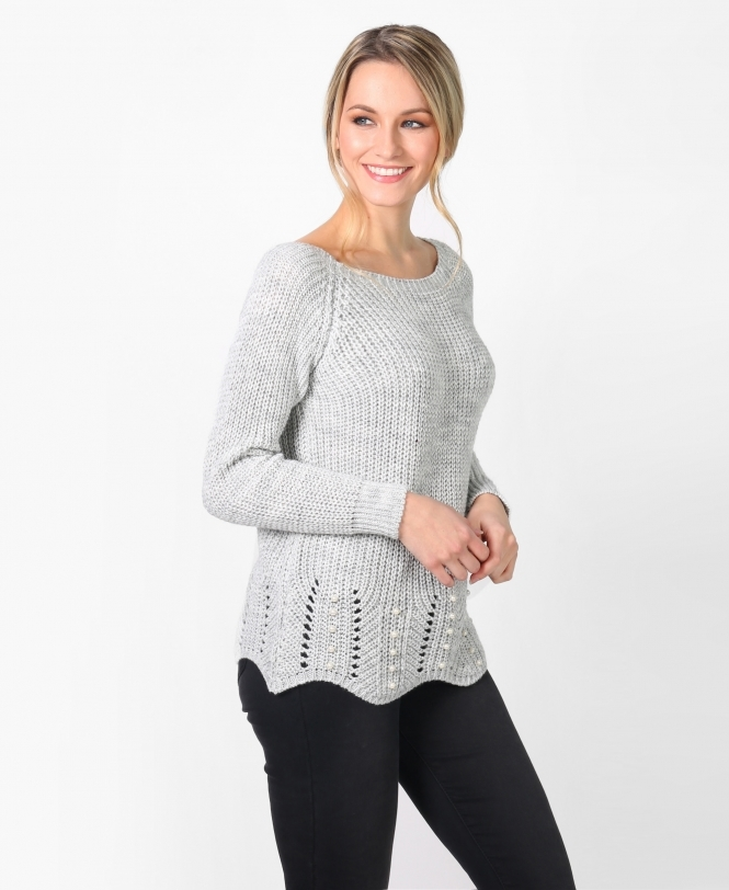 KRISP Scalloped Hem Chunky Knit Jumper