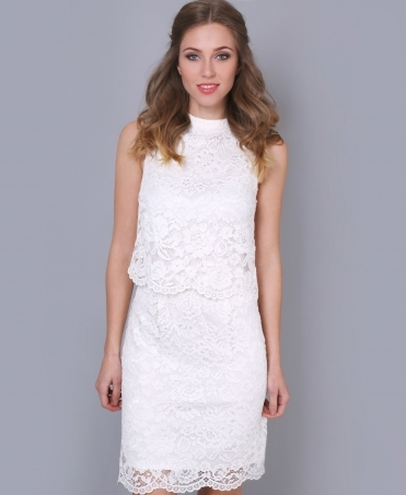 Scalloped Hem Layered Lace Dress