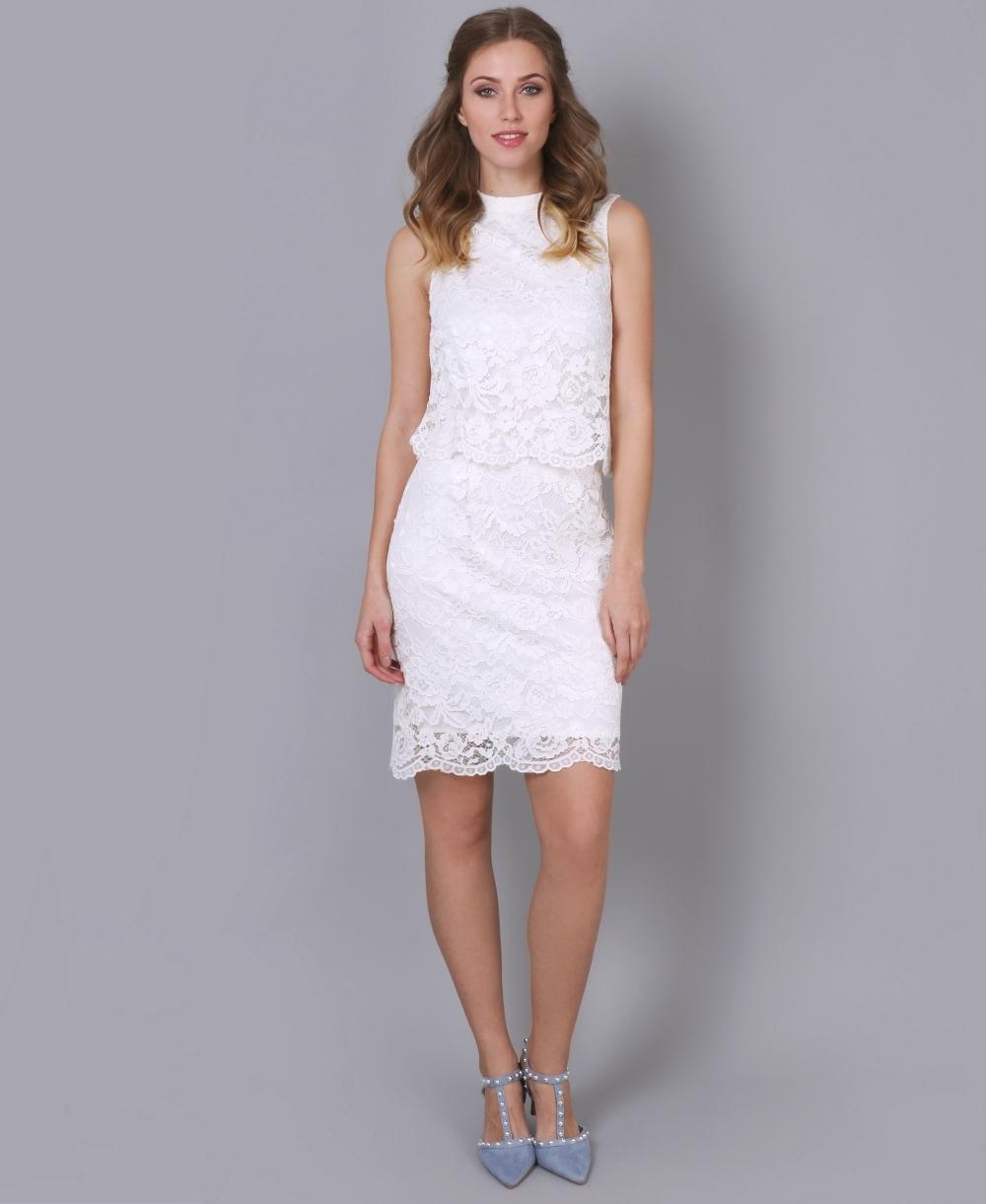 Scalloped Hem Layered Lace Dress