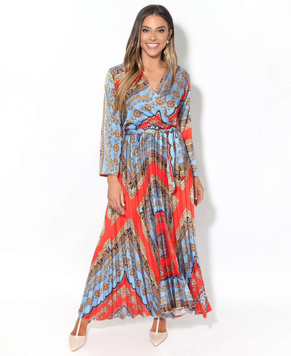 e88187604f Maxi Dress | Scarf Print Belted Maxi Dress | Krisp