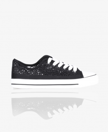 Sequin Embroidered Low Top Trainers