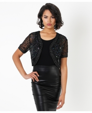Sequin Embroidered Mesh Shrug