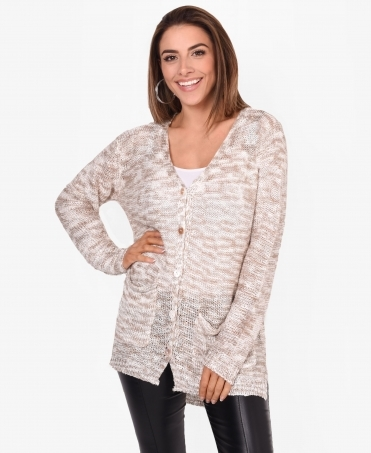 Sequin & Fishnet Knit Longline Cardigan