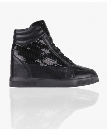 Sequin High Top Wedge Trainers